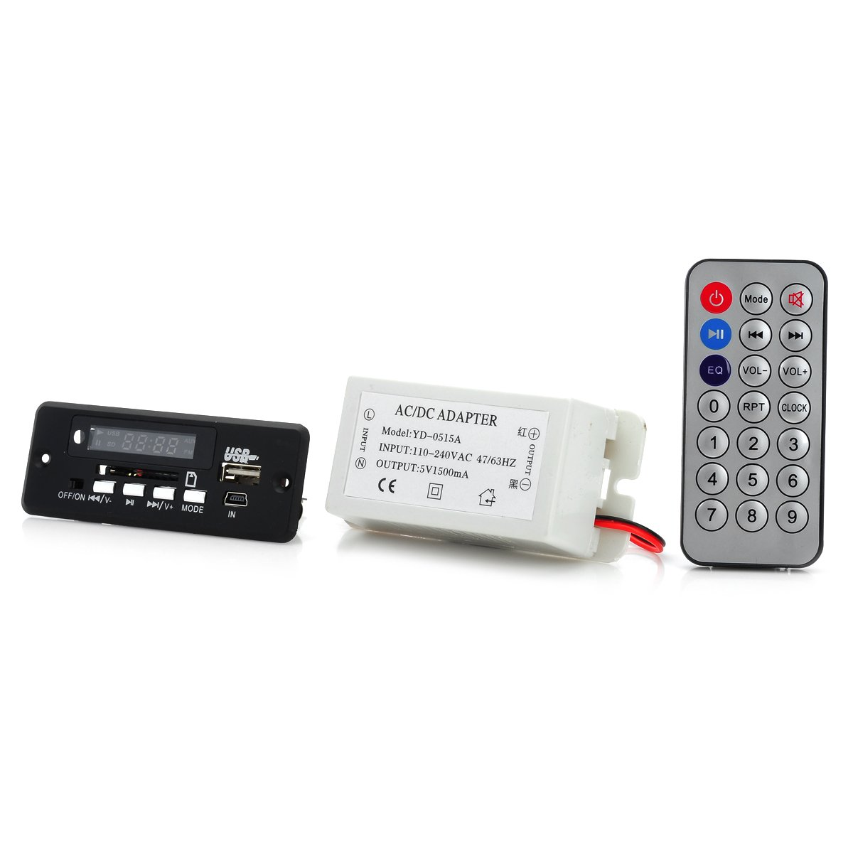 5 V mp3デコードBluetoothアンプボードW /リモートコントロール+ AC / DCアダプタ – ブラック+ホワイト B078Z6HQJC