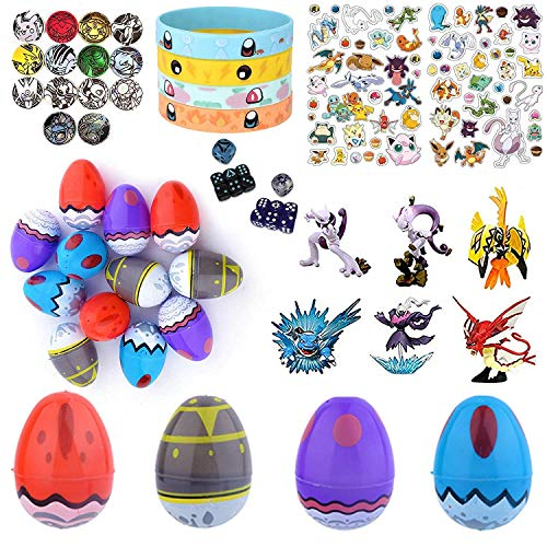 Playoly Party Favor Supplies - 24 Pokemon Theme 2.25 Print Plastic Easter Egg with Assorted Figurines, Bracelets, Stickers, Coin, Dice Accessories and More - Ready To Fill Plastic Eggs