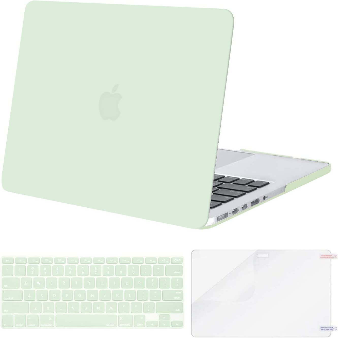 MOSISO Case Only Compatible with MacBook Pro Retina 13 inch (Models: A1502 & A1425) (Older Version Release 2015 - end 2012), Plastic Hard Shell Case & Keyboard Cover & Screen Protector, Honeydew Green