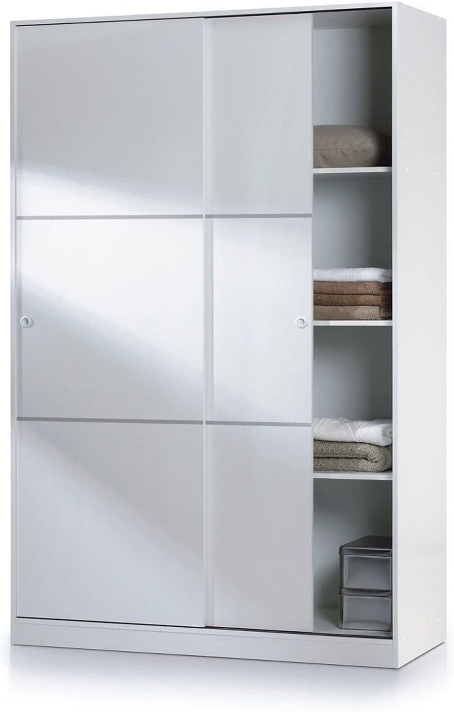 Habitdesign MAX020BO- Armario 2 Puertas Correderas y Estantes, para Dormitorio o Habitacion,Acabado en Blanco Brillo, Medidas: 120 cm (Largo) x 200 cm (Alto) x 50 cm (Fondo)