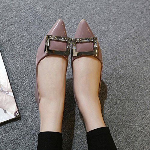 Dress Women's Casual On Pointed Flats Comfort Color T Shoes JULY Toe for Ballet Nude Slip Hn7I7Xvcq