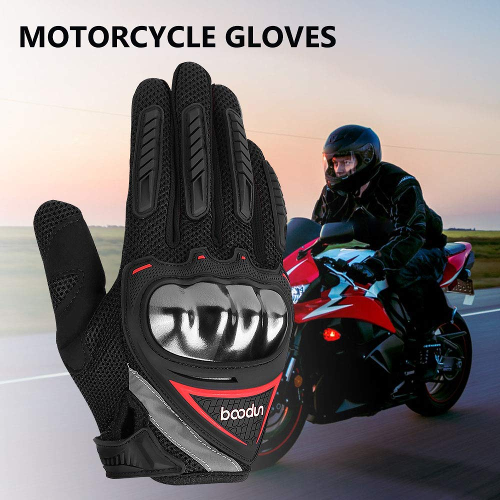 Issyzone Motorcycle Gloves Summer Full Finger Air-permeable Protective Hard Knuckle Protection Racing Gloves Black