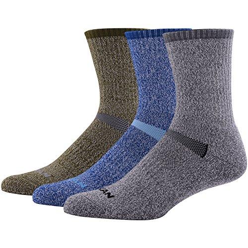 Merino Wool Socks, MK MEIKAN Half Cushion Smooth Toe Seam Light Hiker 1/4 Crew Hiking Socks 3 Pairs, 1 Charcoal, 1 Navy Blue, 1 Army Green