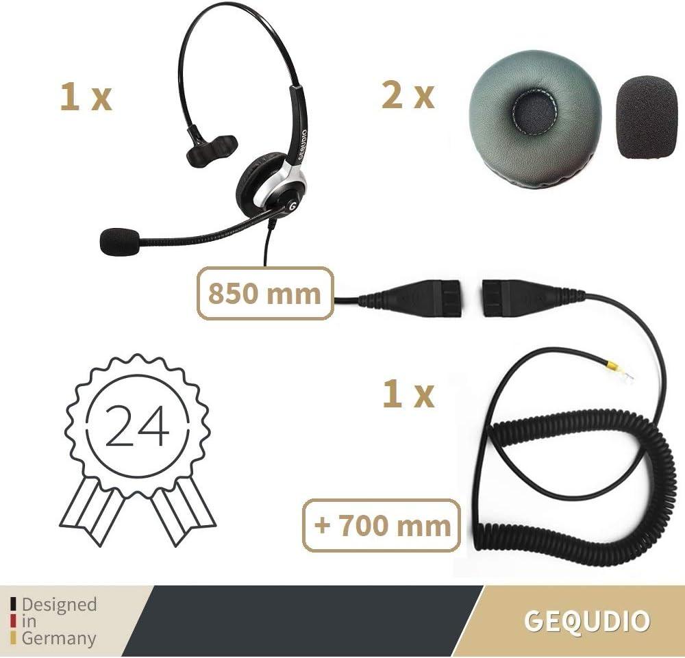 80 g de Peso Aastra Polycom/® y Fanvil/® tel/éfonos con Conector RJ Avaya GEQUDIO Auricular con micr/ófono para Mitel/®
