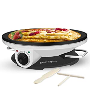 Health and Home Crepe Maker - 13 Inch Crepe Maker & Electric Griddle - Non-stick Pancake Maker
