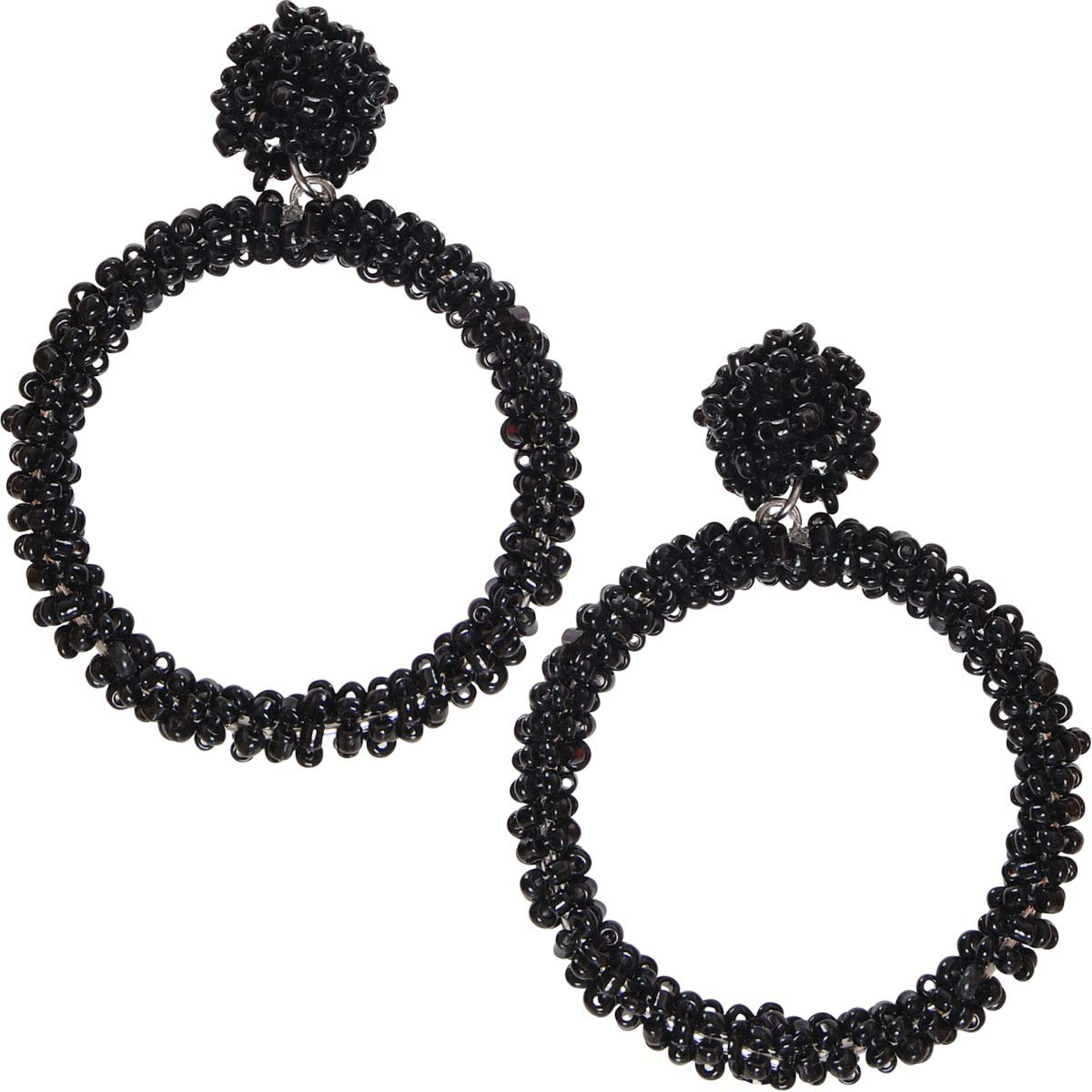 4e27876a14bf9 Humble Chic Beaded Hoop Earrings for Women - Statement Big Hoops Bohemian  Circle Round Drop Dangles