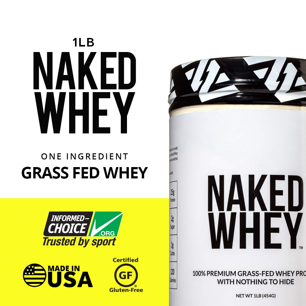 Naked WHEY 1LB 100% Grass Fed Unflavored Whey Protein Powder - US Farms, Only 1 Ingredient, Undenatured - No GMO, Soy or Gluten - No Preservatives - Promote Muscle Growth and Recovery - 15 Servings by NAKED nutrition (Image #2)