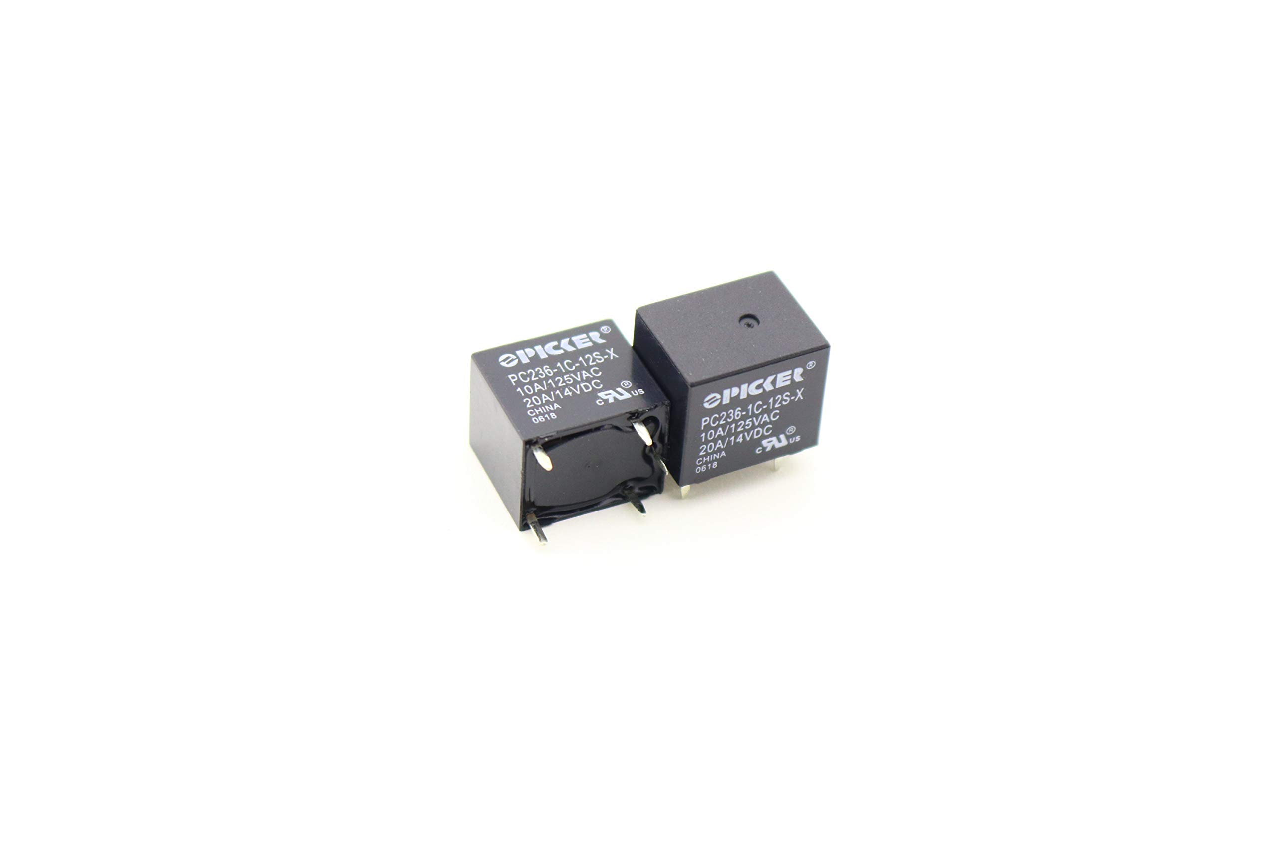 (x2) PC236-1C-12S-X-2 | SPDT 12 VDC Coil | 10 Amp | 120 VAC | 20/15 Amp 14 VAC UL Rated | Sealed Subminiature PCB Power Relay | Cross: Song Chuan 895-1C-C-12VDC, Omron G8QN-1C4-DC12