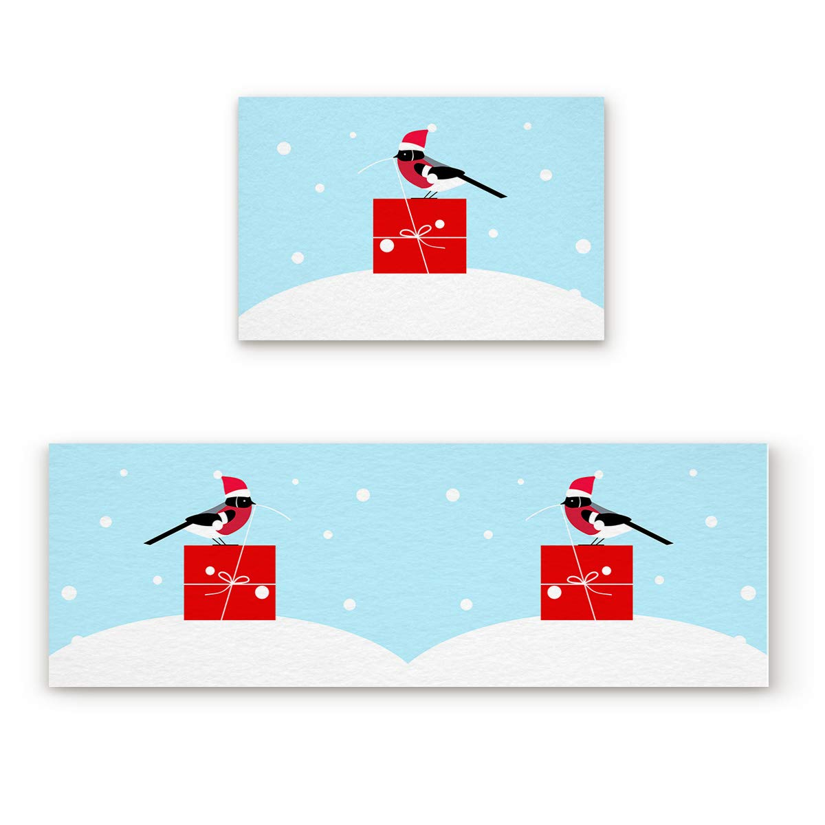 Bird1xsho7169 23.6''W by 35.4''L + 23.6''W by 70.9''L 2 Piece Non-Slip Kitchen Mat Rubber Backing Doormat Runner Rug Set, Kids Area Rug Carpet Bedroom Rug Abstract Xmas Bird with Santa Red Hat Peck Present in The Snow bluee 23.6x35.4in+23.6x70.9in