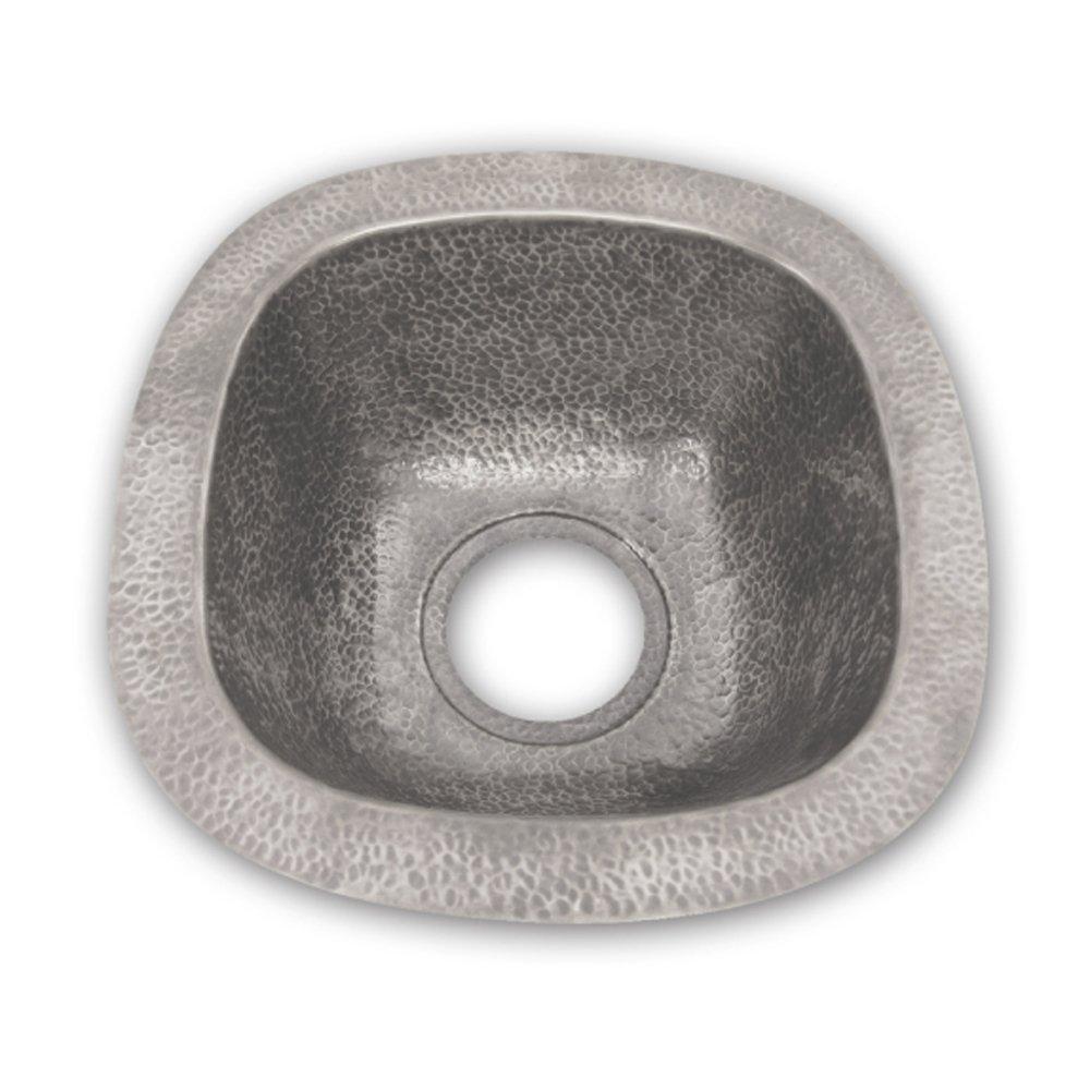 Houzer HW-SCH2BF Hammerwerks Series Undermount Copper Single Bowl Bar/Prep Sink, Pewter