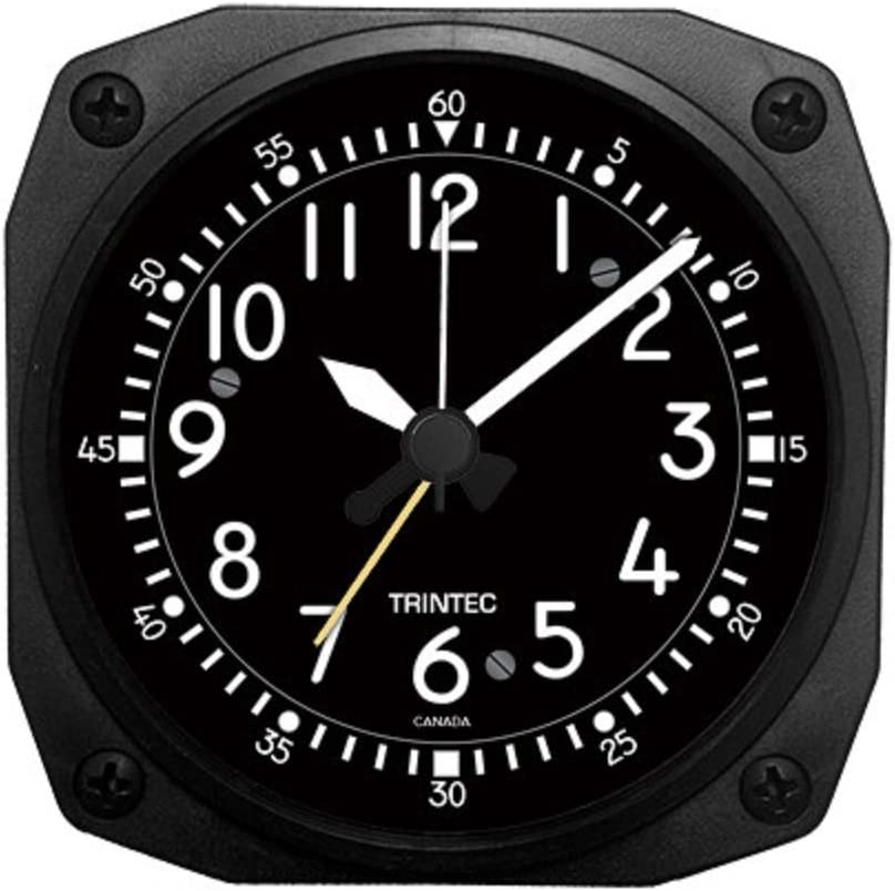Trintec Aviation Classic Desk Top Travel Alarm Clock Aircraft Cockpit Style Face & Unique Housing with 12 Hour Display