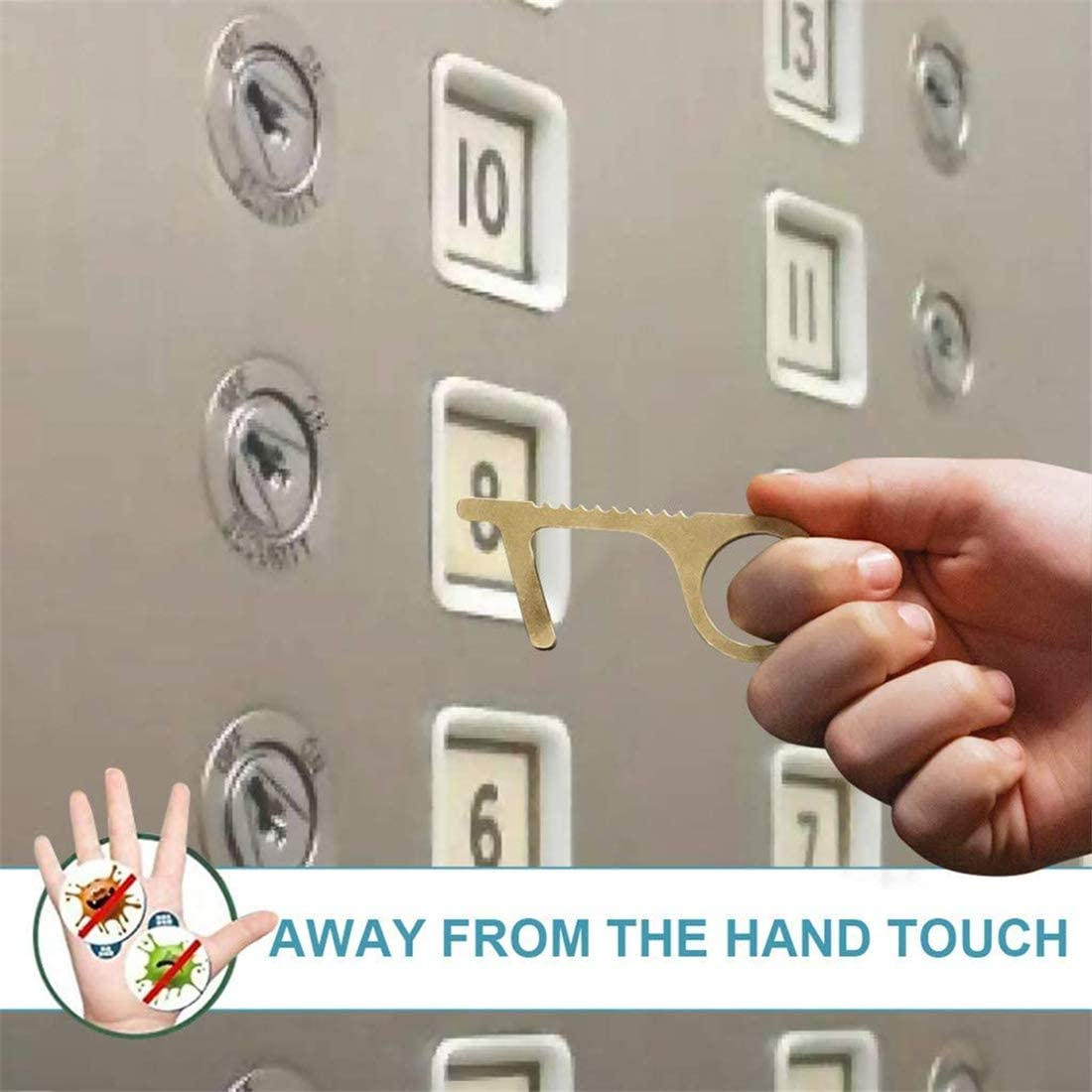 cl/é propre sans contact r/éutilisable Alittle Ouvre-porte de s/écurit/é sans contact linterrupteur /à bouton-poussoir dascenseur et la poign/ée de porte , 3 ensembles utilis/é pour la maison