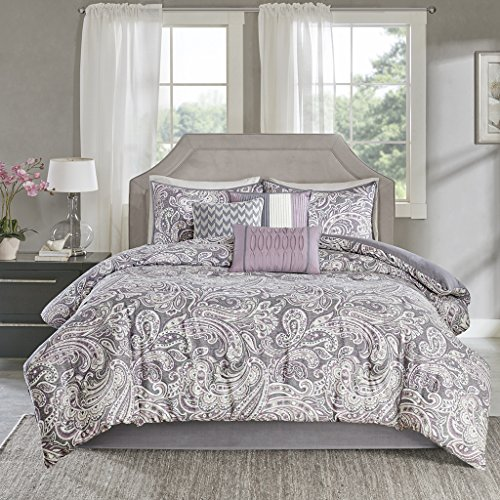 - Madison Park Gabby Queen Size Bed Comforter Set Bed in A Bag - Purple, Paisley - 7 Pieces Bedding Sets - 100% Cotton Sateen Bedroom Comforters