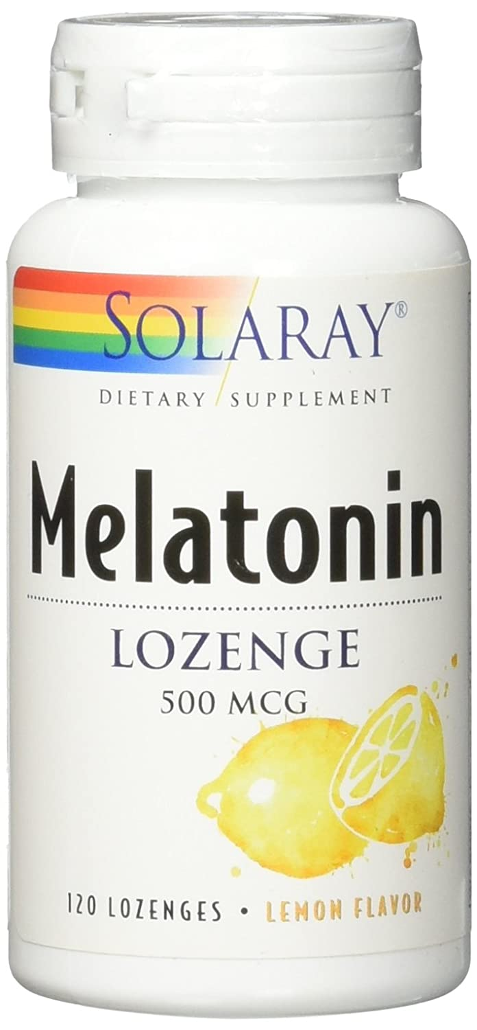 Solaray Melatonin Lemon 500 mcg Lozenges, 120 Count