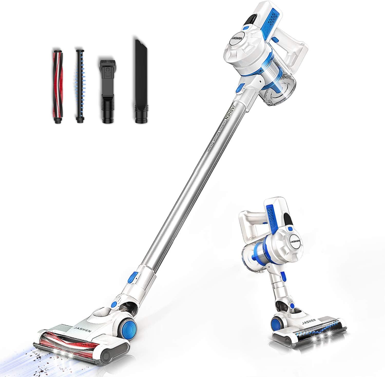 JASHEN Aspirador sin Cable, Aspirador Escoba de Mano 180W Ultraligera 2 en 1, LED Cabeza, 2 Velocidades, Duración de la Batería es Larga-Azul
