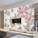 Mznm Custom 3D Photo Wallpaper Luxury 3D Jewel Diamond Circles White Balls Art Mural Living Room Tv Background Wall Painting-120X100Cm