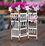Inpay - Folding 3-Panel Mini Jewelry Metal Cute Display Stand - Butterfly Flower Rings Necklaces Bracelets Earring Organizer - Screen Design Brooches Pin Frame Storage Rack (Butterfly Flower, White)