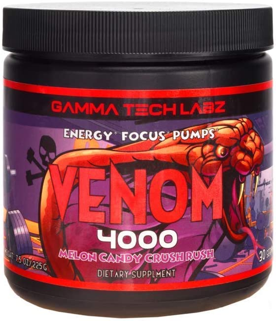 Venom 4000 Pre Workout Powder with Beta Alanine, Creatine Monohydrate, Vitamin B6, Advanced Muscle Builder and Energy Enhancer for Focus and Recovery, Melon Rush