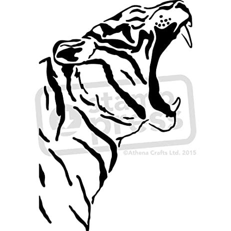 Large A2 Roaring Tiger Wall Stencil Template