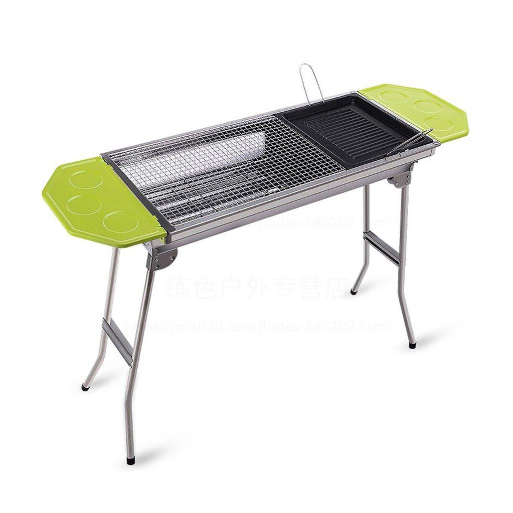 Grill Multifunktionale Edelstahl Grillgeräte Faltbare Tragbare Outdoor Tragbare Kohle Kohleofen (107,6  35  70 cm) Plazierplatte + Bratplatte