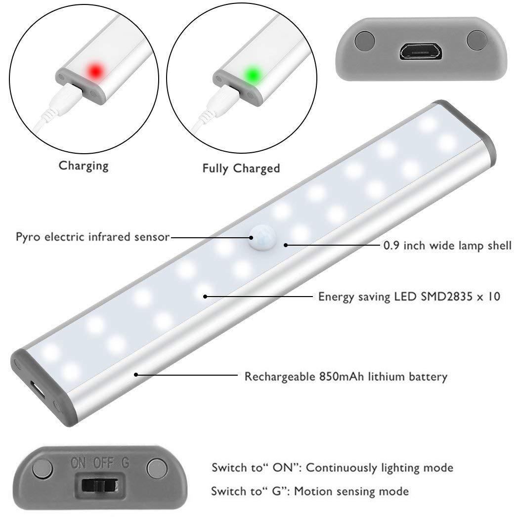 Lámpara LED de Armario, Barra de Luz con Sensor de Movimiento 20 LEDs Luz de Armario Lámpara Nocturna para Armario/Cajón/Camino - 2 Pack (2 pcs): Amazon.es: ...