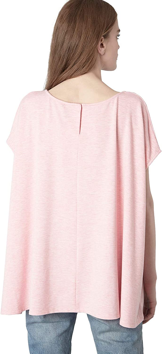 525 America Women's French Terry Cap Sleeve Swing Top Bright Pink Melange