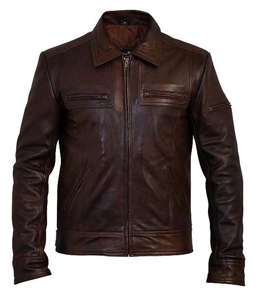 Charlie LONDON Lynch - Chaqueta de Piel para Hombre, diseño Vintage, Color marrón: Amazon.es: Ropa y accesorios