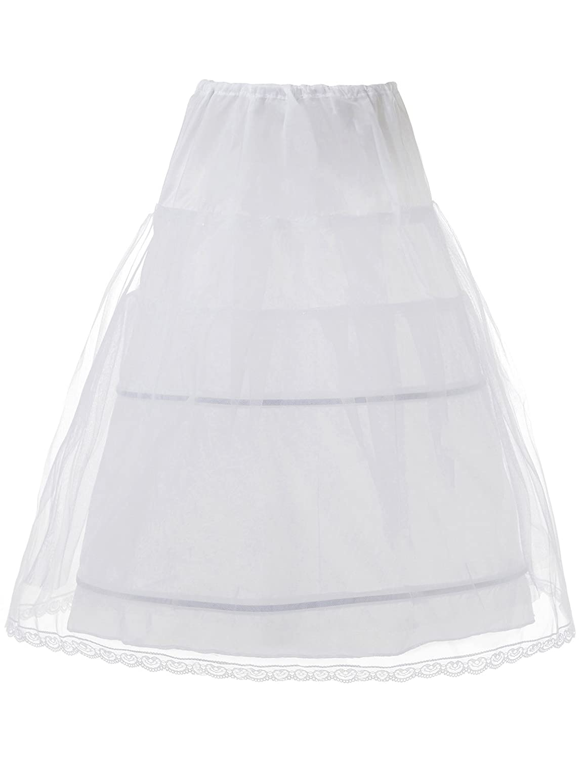 Remedios 2 Hoop Children White Petticoat Long Slips Flower Girl Crinoline Underskirt LWUKQC140003