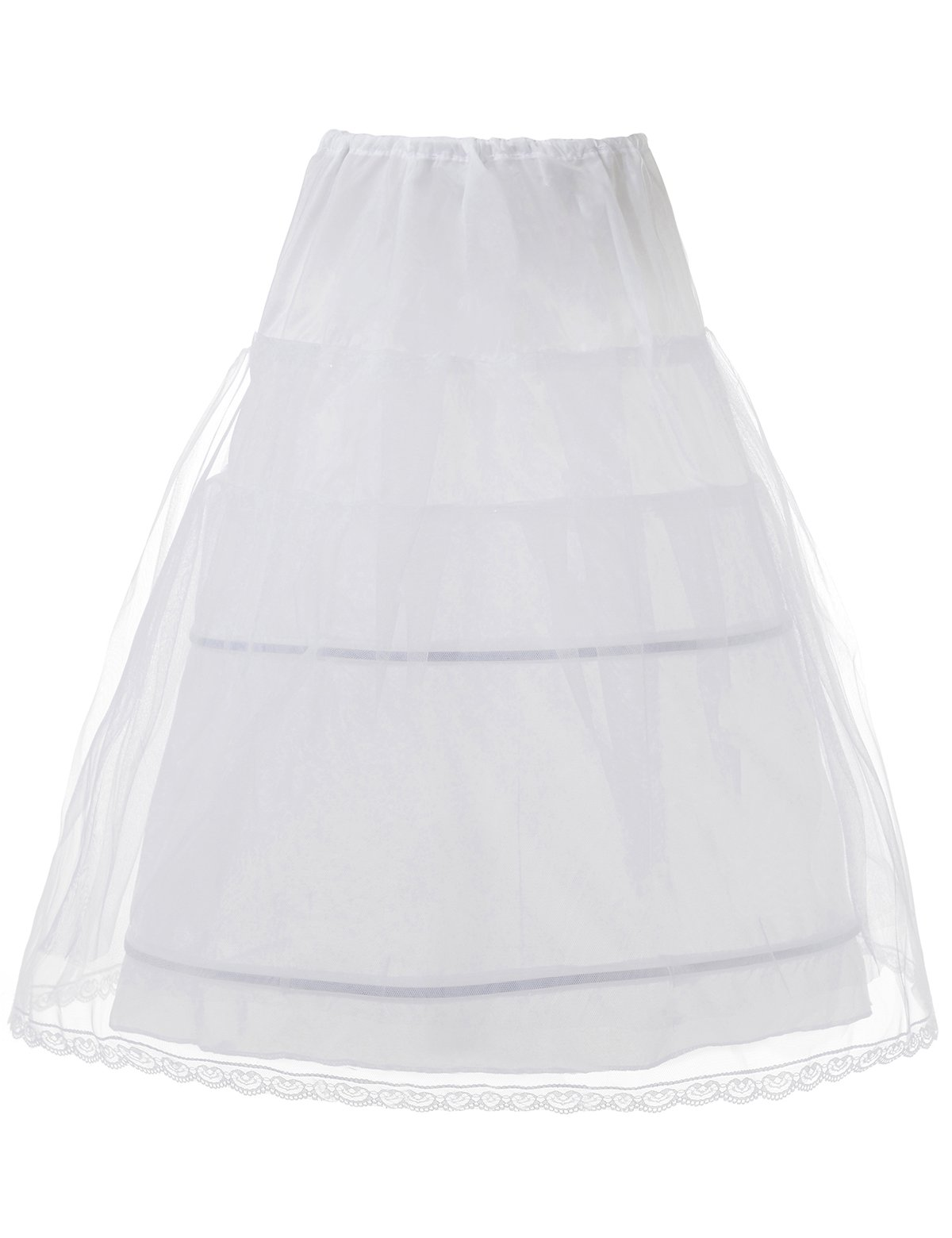 Remedios Kids Crinoline Petticoat Flower Girl Wedding Underskirt Slip, one size White