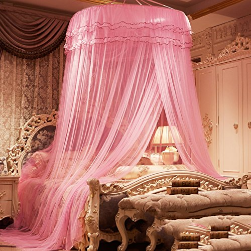 Dome ceiling princess bed canopy, Palace Enlarge Double Oversized mosquito net mosquito-curtain for twin Queen and king size -C Queen2 by DE&QW
