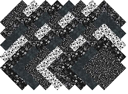 Black And White Quilting Fabric - Black and White Quilting Fabric Fabric Blender Collection 40 Precut 5-inch Squares