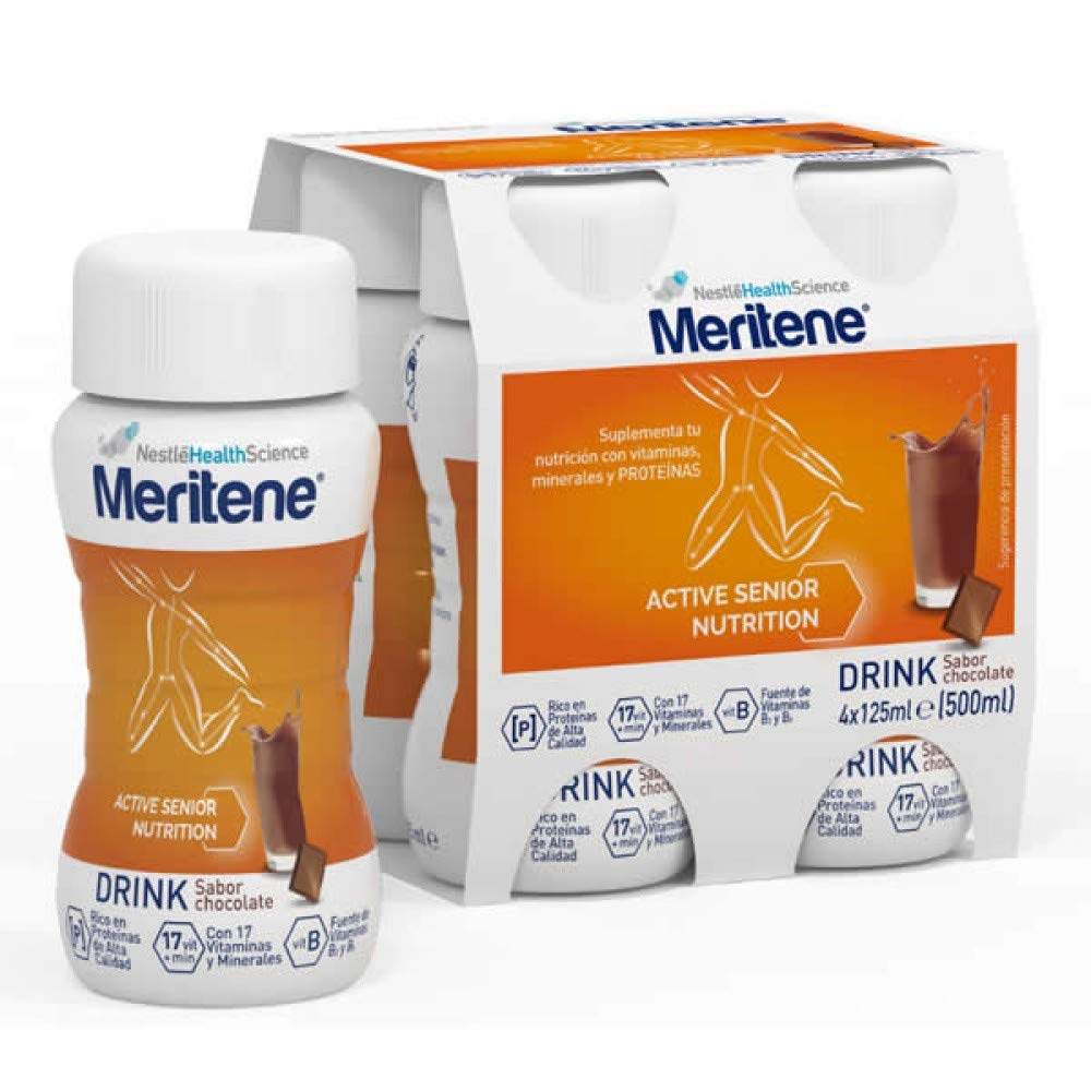 Amazon.com: Meritene Active Senior Nutrition Drink Sabor Chocolate 4x125ml: Health & Personal Care