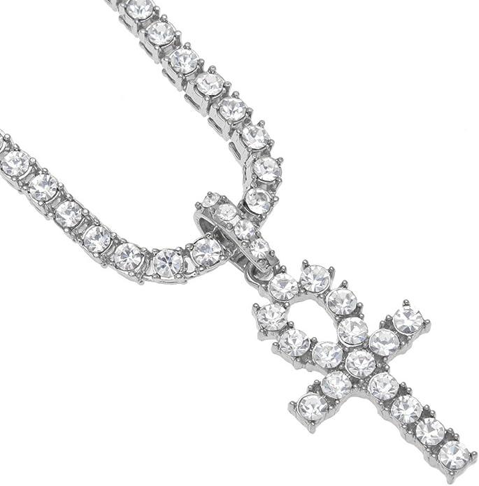 Imagen deMcsays - Colgante de cruz de cristal grande de Egipto y cadena de tenis