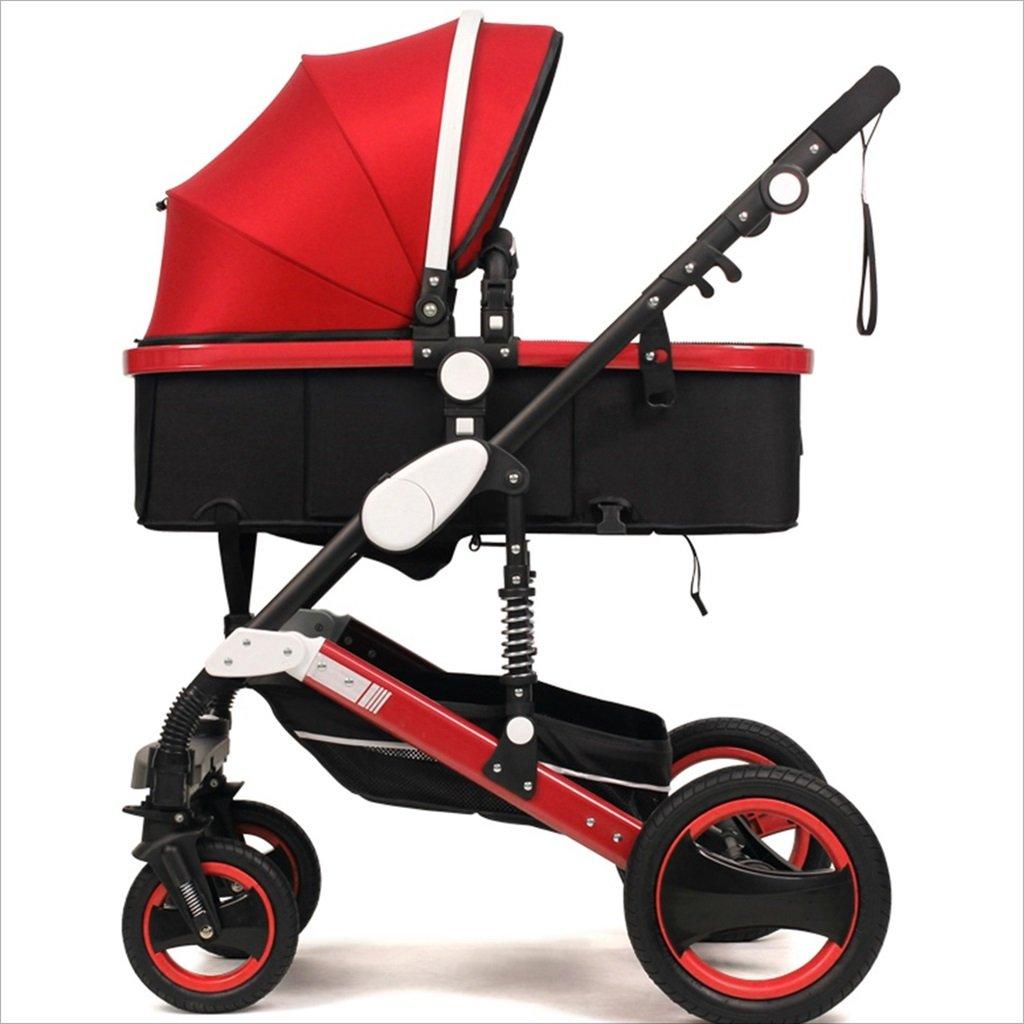 新生児の赤ちゃんキャリッジ折りたたみ可能な座って、1ヶ月のためのダンピングの赤ちゃんカートに落ちることができます 3歳の赤ちゃんの双方向四輪ベビートロリーを振るのを避ける (色 : 赤) B07DVDP8RT 赤 赤