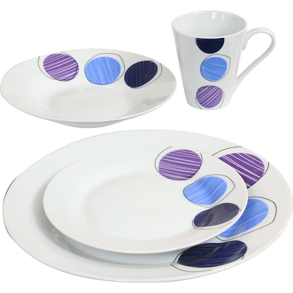 16PC DINNER SET BOWL PLATE MUG SOUP SIDE PORCELAIN CUP GIFT KITCHEN SERVICE NEW (BLACK PATTERNS) PRIMA