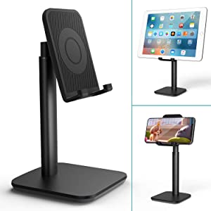 Cell Phone Stand, Klearlook Angle Height Adjustable Desk Stand Holder Compatible for (i) Phone Galaxy Phone Tablet Smartphone Stand