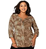 Avenue Women's Animal Print Zip Blouse, 22/24 Multi Color