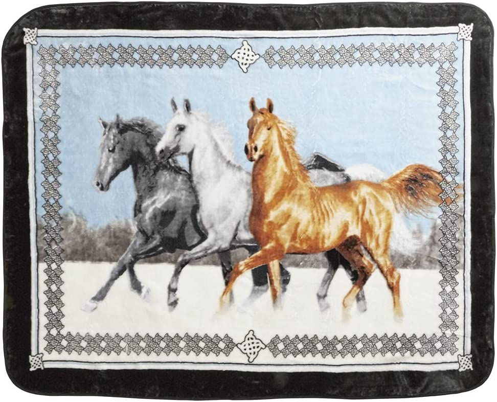 Shavel Home Products Luxury High Pile Oversized Throw, 60 x 80 Inch, Running Horses