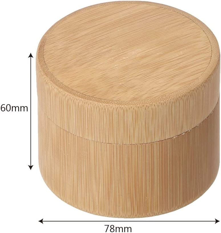 Tea Cans Tea Box Incense Container Box,Jadpes 1Pc Portable Hand-made Round Shape Bamboo Tea Cans Tea Box Wooden Container with Lid #1
