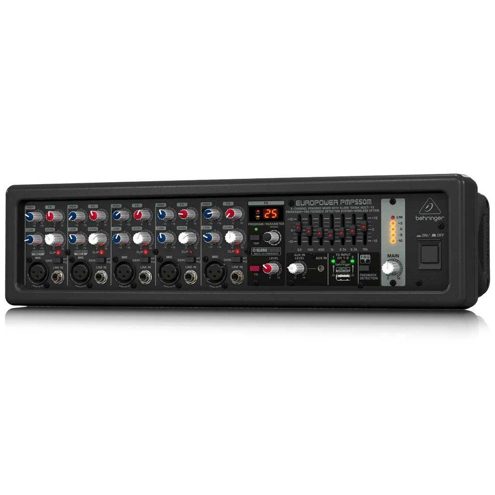BEHRINGER 5 PMP550M 500-Watt 5-Channel Powered Mixer with Klark Teknik Multi-Fx Processor FBQ Feedback Detection System Black