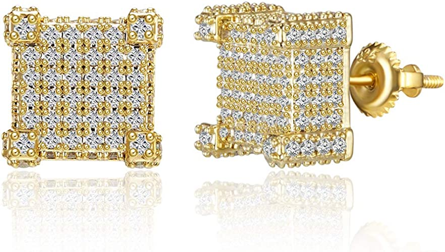 14K Gold Over Sterling Silver Round Cut Cubic Zirconia Hip Hop Kite Stud Earrings