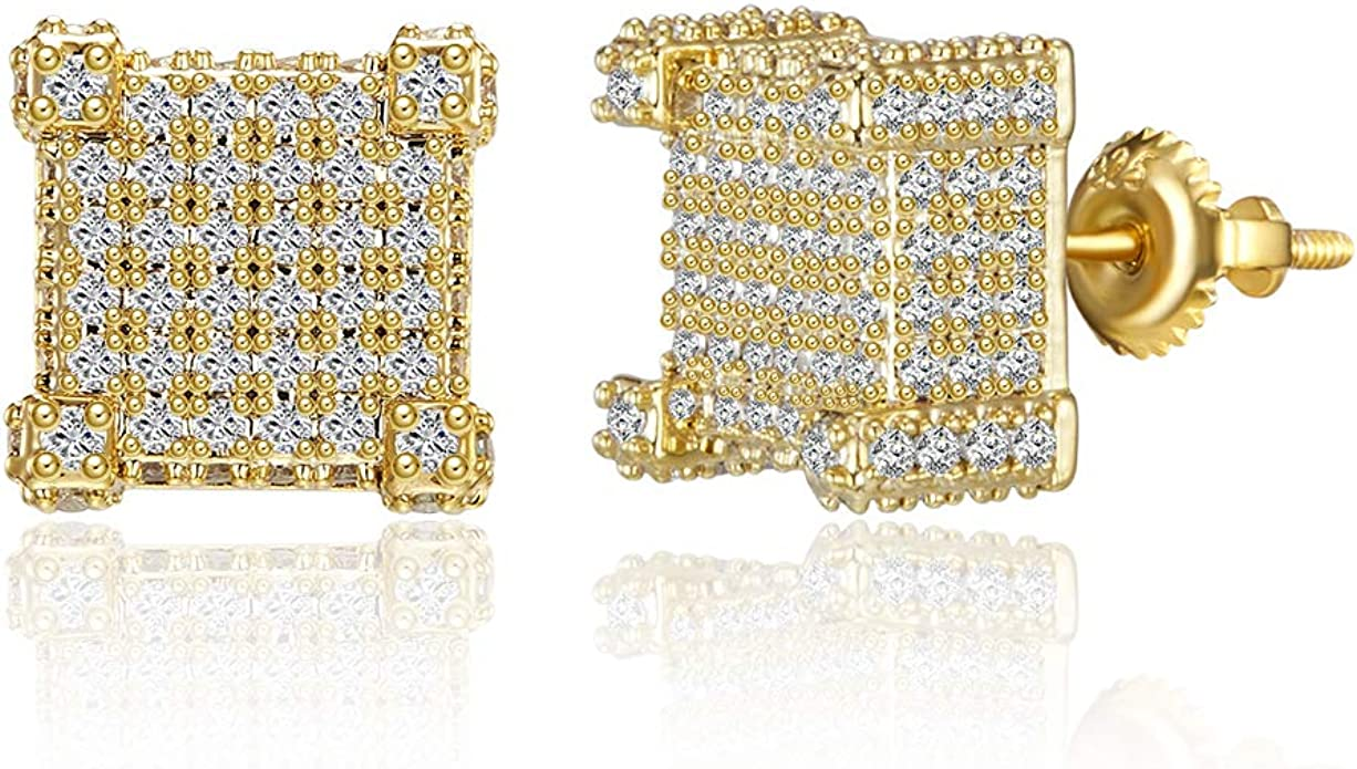 TOPGRILLZ 14K Gold Plated 925 Sterling Silver Iced out CZ Hypoallergenic Round Screw Back Stud Earrings for Men
