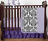 Boutique Sloane Lavender Purple White Polka Dot and Damask Girls Baby Bedding 4 Piece Crib Set Without Bumper