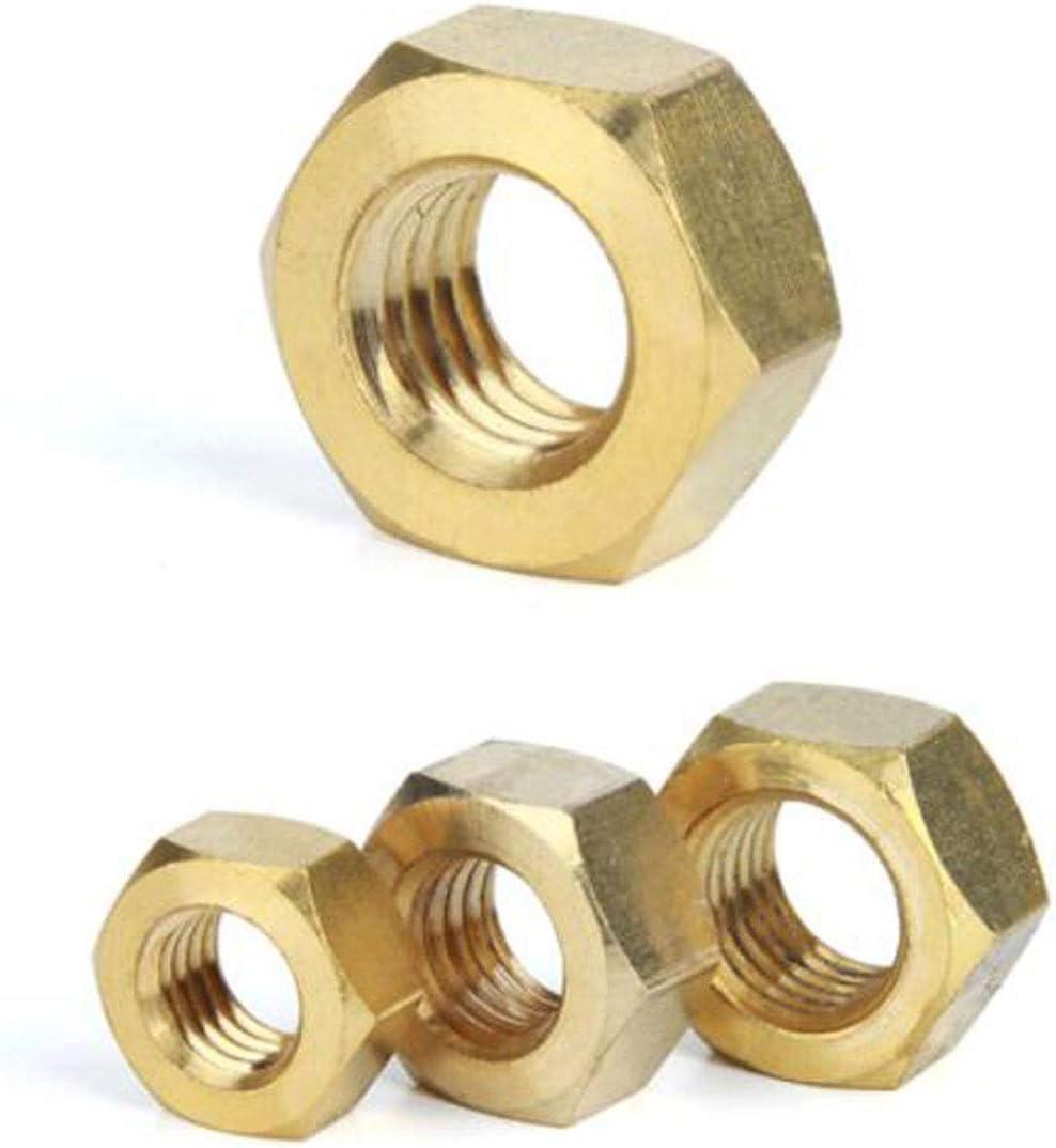 Size : M2 Size : M1.6 Screws Fulok Easy 50Pcs DIN934 M1.6 M2 M2.5 M3 M4 M5 M6 H62 Hexagonal Brass Hex Nuts Hexagon Nut HW048