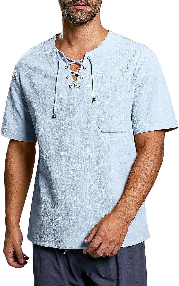 Fueri Camisa de manga corta para hombre, estilo medieval, con cordones, corte regular: Amazon.es: Ropa y accesorios