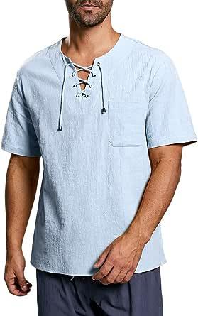Fueri Camisa de manga corta para hombre, estilo medieval, con cordones, ajuste regular, algodón, camiseta de verano