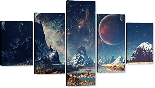 Yatsen Bridge Large Wall Art Planet World Abstract Painting Print on Canvas Room Moon and Mountains Pictures Artwork Modern Home Decor Wooden Framed Stretched Ready to Hang
