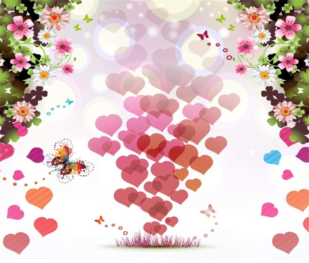 Laeacco Valentines Day Backdrop 6.5x6.5ft Vinyl Rising Red Hearts Bokeh Haloes Flowers Butterfly Illustration Background Lovers Adult Portrait Shoot Greeting Card Wedding Invitation Poster Wallpaper