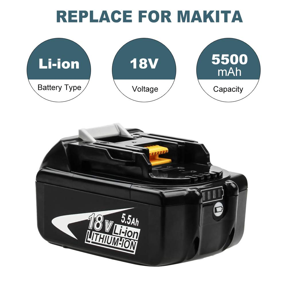 Hochstern BL1850 Battery 18V 5.0Ah Replacement for Makita BL1840 BL1830 BL1850B BL1860 BL1820 BL1815 BL1835 BL1845 196399-0 194309-1 194205-3 Lxt-400 Cordless Power Tool