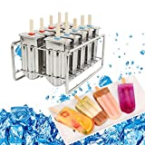 Denshine Ice Pop Molds, Popsicle Molds Stainless steel, Ice Pop Maker with Tray, Ice Cream Molds Set of 10 for Homemade